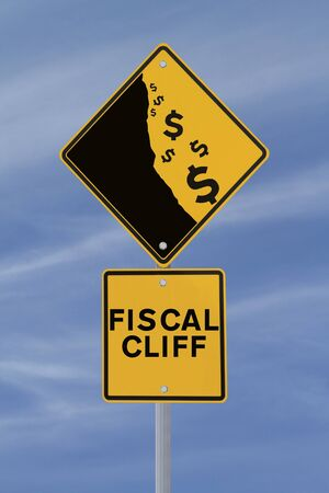 financial cliff: A modified road sign showing the dollar currency falling off a cliff