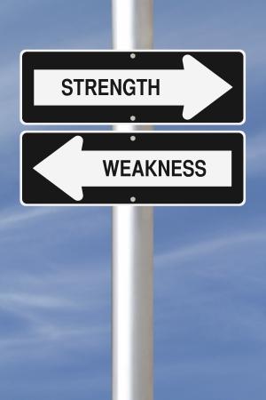強さと弱さの 1 つの方法通りの看板