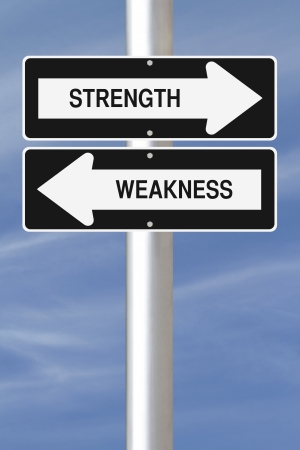 Strength and Weakness one way street signs Stockfoto