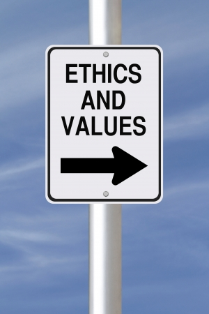 ethic: A modified one way street sign on Ethics and Values  Stock Photo