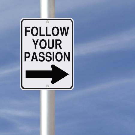 열정: 경력 또는 개인 조언 도로 표지판