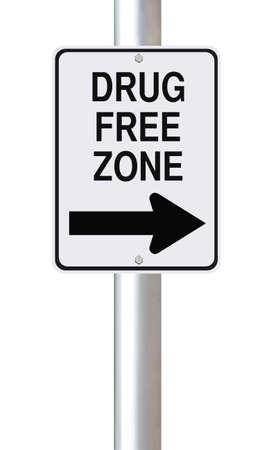 street drug: Modified one way sign indicating drug free zone (on white)