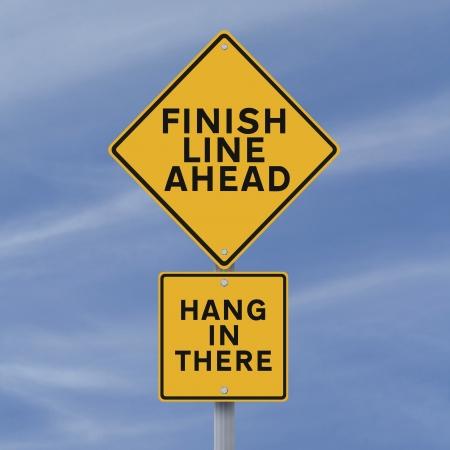 道路標識まで来てフィニッシュ ラインを発表