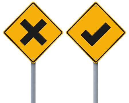 Conceptual road signs with a tick mark and cross mark  photo