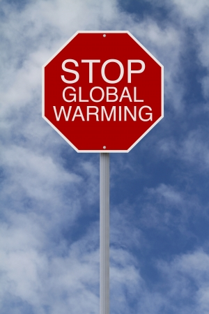 stop global warming: A modified stop sign on Global Warming  Stock Photo