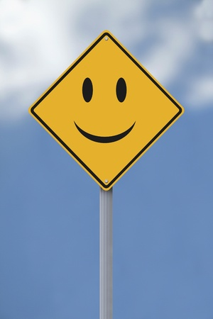 Conceptual road sign with a smiley face  photo