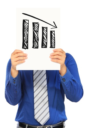 A man holding a sketch of a bar chart showing a negative trend
