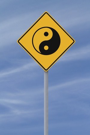chinese philosophy: Conceptual road sign with the Yin Yang symbol  Stock Photo