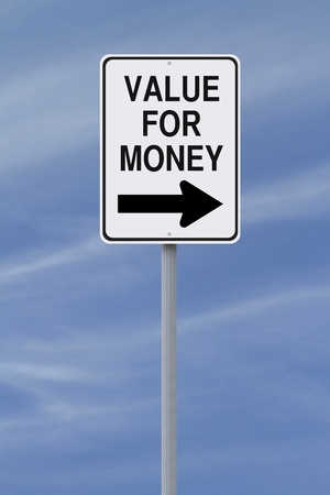 A modified one way street sign indicating Value for Money