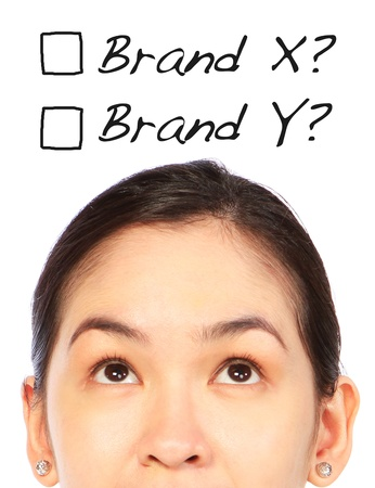 buying questions: A young woman thinking of which brand to choose or buy