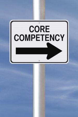competency: A modified one way street sign indicating Core Competency  Stock Photo