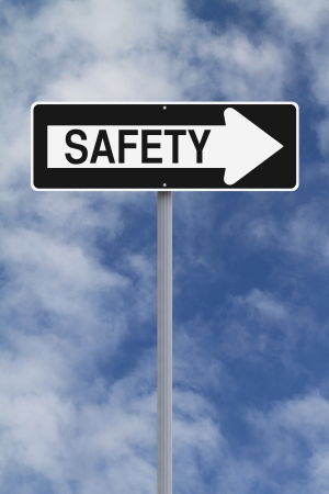 A modified one way sign on safety  photo