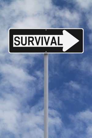 tough times: Conceptual one way sign on Survival  Stock Photo