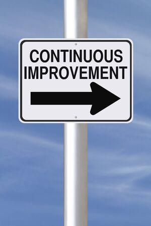 Een gewijzigde eenrichtingsverkeer teken op Continuous Improvement Stockfoto - 20862222