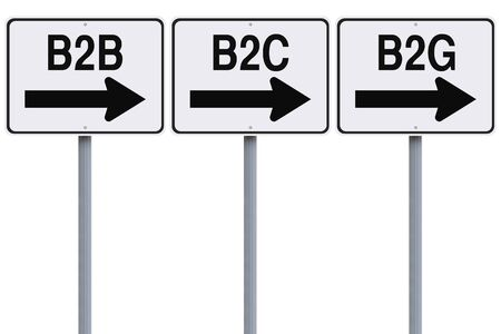 Modified one way street signs indicating acronyms on business transactions  photo