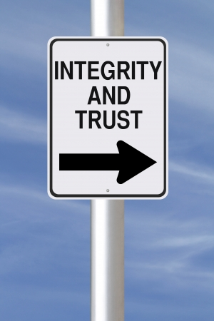 ethics and morals: A modified one way street sign on Integrity and Trust  Stock Photo