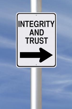 Een gewijzigde eenrichtingsverkeer teken op integriteit en vertrouwen Stockfoto - 21487549