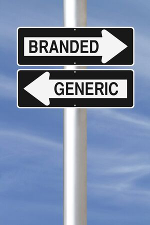 A modified one way street sign on Branded versus Generic products  photo