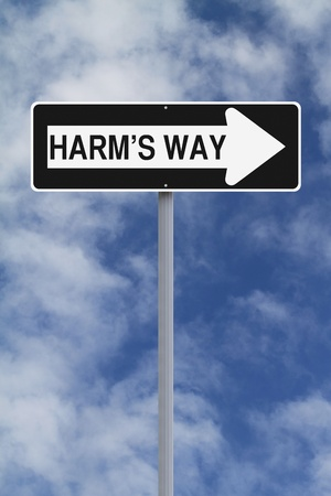 harm: A modified one way sign pointing towards Harm s Way  Stock Photo