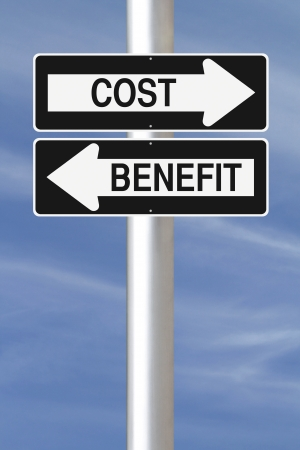 A modified one way sign on Cost Benefit Analysis  photo