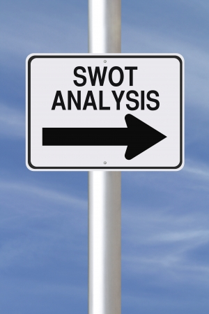 A conceptual one way sign on SWOT analysis  photo