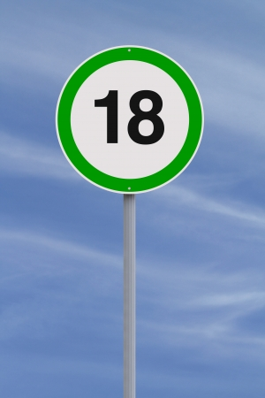 majority: A modified speed limit sign indicating the age of majority of 18