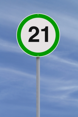 twenty one: A modified speed limit sign indicating the number Twenty One