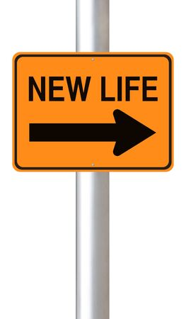 new beginnings: A conceptual road sign on new beginnings  Stock Photo