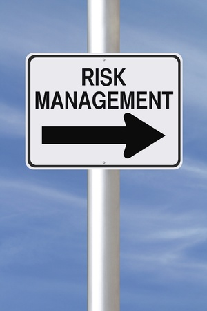 risk management: A modified one way street sign on risk management  Stock Photo