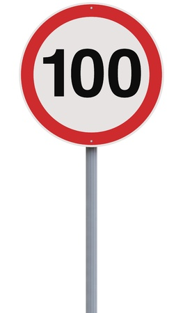 A road sign indicating a 100 speed limit  photo