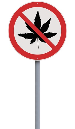 A road sign against marijuana use  photo