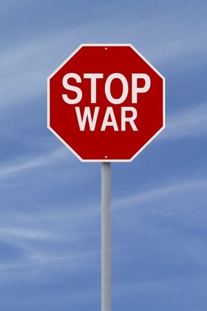no war: A modified stop sign on War  Stock Photo