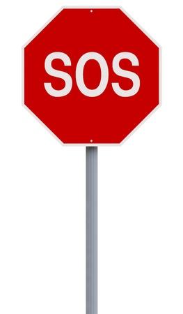 Een conceptueel stopteken aangeeft SOS Stockfoto - 22135459