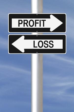 perdidas y ganancias: Ida y señales de la calle conceptuales sobre pérdidas y ganancias