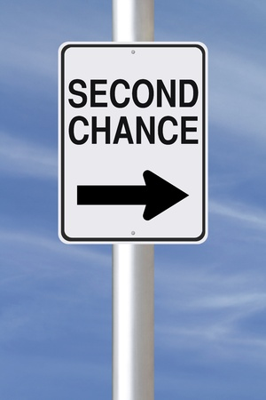 A modified one way street sign indicating Second Chance  photo
