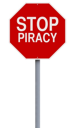 A conceptual stop sign against Piracy  photo