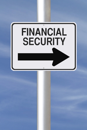 financial security: A modified one way street sign on Financial Security  Stock Photo