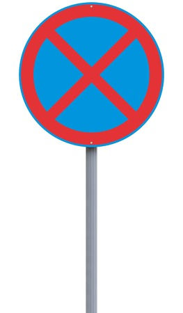 stopping: European no stopping road sign