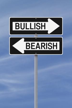 Conceptuele eenrichtingsverkeer borden op bullish of bearish markten Stockfoto