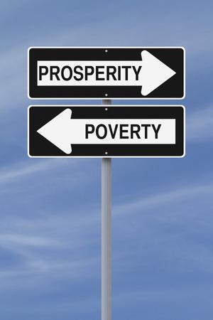 prosperidad: Ida y señales de la calle conceptuales sobre la prosperidad y la pobreza Foto de archivo