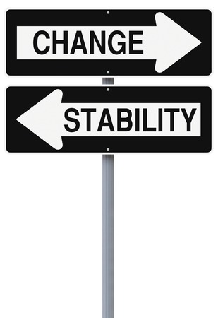 Conceptual one way street signs on stability and change  photo
