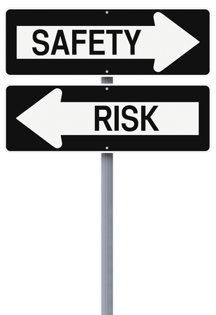 Conceptual one way street signs on safety and risk  photo