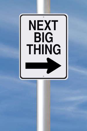 Gemodificeerde een manier verkeersbord aangeeft Next Big Thing Stockfoto - 22536893