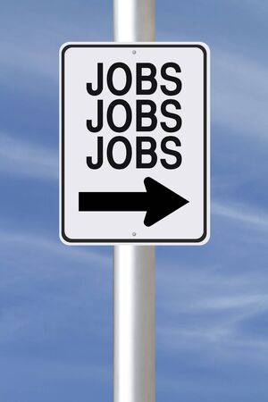 A modified one way sign about Jobs  photo