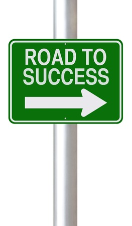 A modified one way sign pointing towards the Road to Success