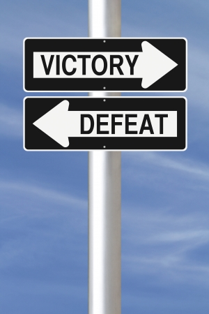 defeat: Conceptual one way street signs on Victory and Defeat  Stock Photo
