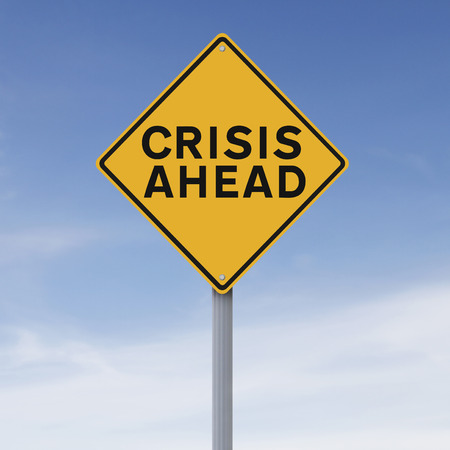 A conceptual warning sign indicating Crisis Ahead  photo