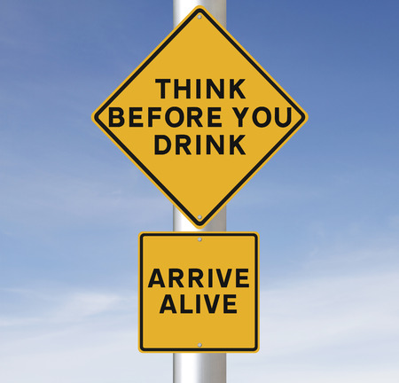 drinking driving: Modified road sign warning of the danger of drinking and driving