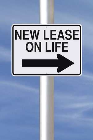 A modified one way road sign indicating New Lease On Life photo
