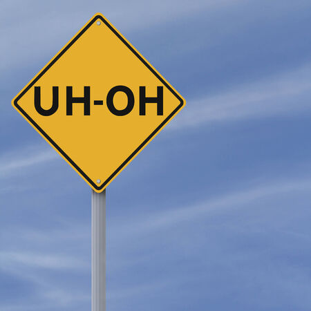concern: A conceptual road sign implying a mistake or concern  Stock Photo